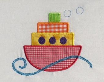 Tug Boat Embroidery Design Machine Applique