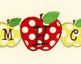 Back to School Three Apple Monogram Embroidery Design Machine Applique