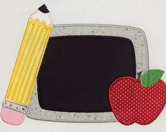 Back to School Chalk Board Embroidery Design Machine Applique