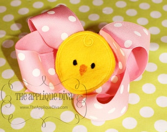 Easter Spring Chick Bow Center Embroidery Design Machine Applique