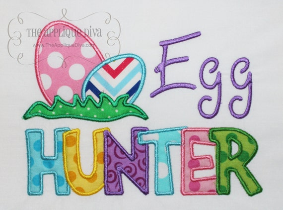 Easter Egg Hunter Embroidery Design Machine Applique