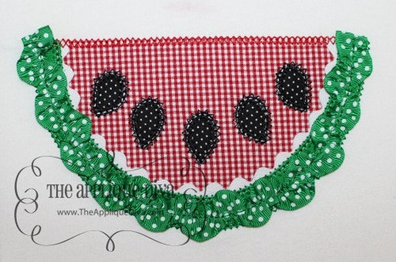 Ribbon Watermelon 3D Embroidery Design Machine Applique