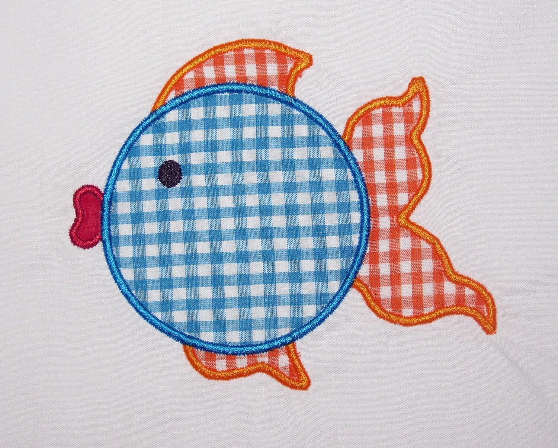 Summer tropical fish digital embroidery applique design