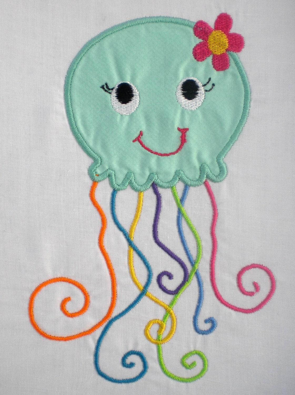 Summer Girl Jellyfish Embroidery Design Machine Applique