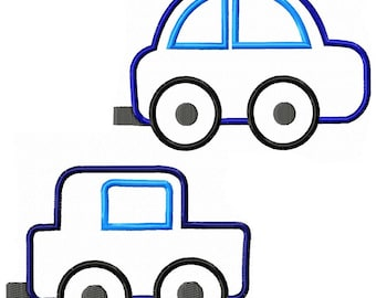 Modern Car and Truck Machine Embroidery Applique Pattern **Instant Download**