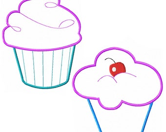 Cupcakes Machine Embroidery Applique Pattern - 2 designs - **Instant Download**