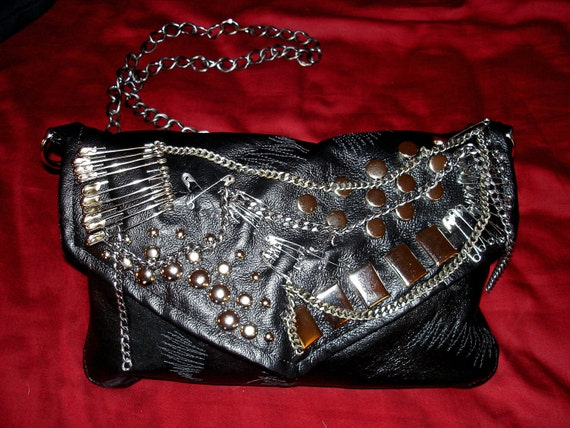 RANDI LOVE Black Leather Studded,Chained & Pinned Heavy Metal Bag