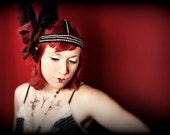 Burlesque Rhinestone Headdress Belly Dance headband black Ostrich Plumes Gypsy Flowers blood red beads Boudoir Chic