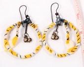 Carnival Gypsy Earrings - Tribal Hoops yellow white stripe circles Kuchi bells Tattered dangle Belly Dance twisted Oxidized wire