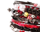Traveling Gypsy Bangle Bracelets Free Spirit Stack Tribal Belly Dance Summer festivals Bohemian, patina, beads red white black yellow colors