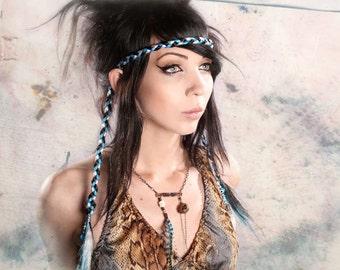 Braided Hair Headband, hippy hair extension, Bohemian hair piece, black Turquoise Blue hair, free spirit braid, headwrap, gypsy fascinator