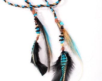 Hair Extension Hair Clip Headband hair braid headband feather beaded Blond Blue Black Fairy hair hairpiece free spirit