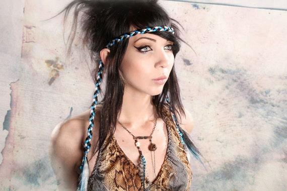Braided Hair Headband hippy Bohemian Love Child black white Turquoise Blue hair hairpiece free spirit braid headdress playa