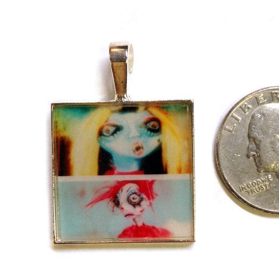 Carnival Art Pendant Necklace. Cute little twisted doll faces wearable art Mini Photo Print, red blue yellow, strange outsider folk art