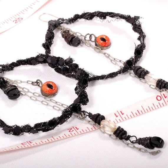 Gypsy Earrings - Large Tribal Hoops Carnival Snake Charmer orange reptile snake Eye amulets Tattered dangle chain Belly Dance Oxidized wire