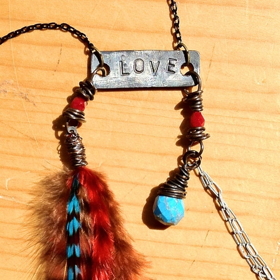 Love Feather Necklace - Wind Goddess Charm delicate dangle chains Magical Pendants Gypsy Native Indian inspired OOAK