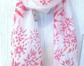 Hand Painted Silk Scarf Floral, Pink Hanabi Flowers Scarf. Silk Chiffon Scarf. 7x50 in. Silk paint. Pink silk scarf. Free Shipping.