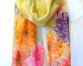 Hand Painted Silk Scarf. Japanese Floral Silk Scarf. Spring Flower Festival. Luxury Silk. Silk Scarves Takuyo. 13x69 in.