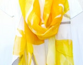 Hand Painted Silk Scarf Yellow Orchids. Large Silk Scarf. Yellow Floral Scarf, Silk Chiffon Scarf. Silk Scarves Takuyo. Approx 19x78 in.