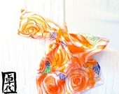 Silk Scarf Handpainted with Scarf Ring. MIYABI Silk Neck Scarf. Tropical Orange Roses. Made in USA. Silk Scarves Takuyo.