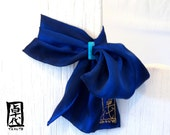 Hand Painted Blue Silk Scarf w Blue Mother of Pearl Scarf Ring. MIYABI Scarflette Midnight and Blue. Luxury Silk Scarf. 6x24 in.