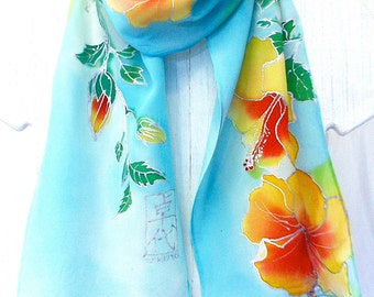 Blue Silk Scarf Handpainted, Blue Hawaii Silk Scarf, Handmade Silk Scarf, Floral Silk Scarf, Silk Takuyo, 8x54 inches,  Made to Order.