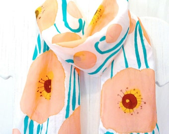 Summer Scarf Pattern, Floral Summer Scarf, Pink Silk Scarf, Peach Pink Poppy Meadow Scarf, Hand Painted Silk Scarf, 8x54 in. Made to order.