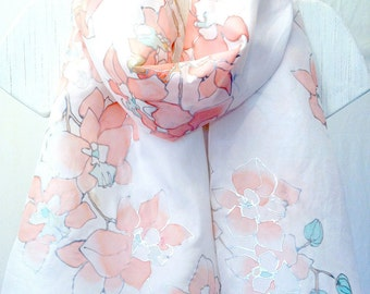 Hand Painted Silk Scarf, White Silk Scarf, Wedding Silk Scarf, Mint Green and Coral Pink Orchid Scarf, Takuyo, 22x72 inches. Made to order.