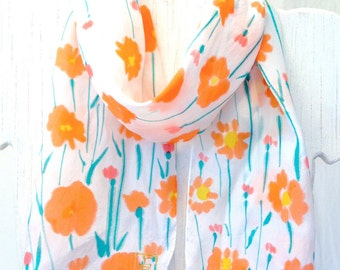 Silk Scarf Handpainted, Holiday Gift for her, Birthday Gift, Orange Floral Scarf, Spring Orange Daisies Scarf,  8x54 inches. Made to order..