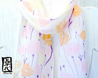 White Silk Scarf Handpainted, Summer Scarf, Pastel Color Wildflowers Scarf, Silk Chiffon Scarf. 7x52 inches. Made to order.