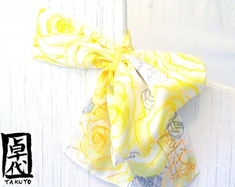 Silk Scarf with Scarf Ring. Hand Painted Silk Scarf, MIYABI - Citron Yellow Roses. Yellow Silk Scarf. Summer Scarf. Japanese Silk Scarf.