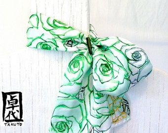 Hand Painted Green Silk Scarf. Summer Silk Neck Scarf, Scarf Ring. MIYABI Silk Scarf - Mint Green Roses.
