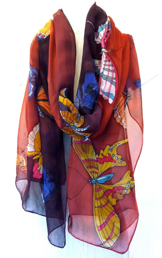 Hand Painted Silk Shawl Brown Butterflies Kimono Silk Shawl. Brown Japanese Silk Shawl. Silk Chiffon Scarf. Approx 19x78 in. Ready to Ship.