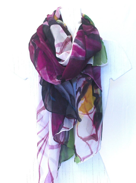 Hand Painted Silk Shawl Claret Purple Lilies, Large Silk Scarf, Purple Floral Scarf. Silk Scarves Takuyo. 41x70 in.