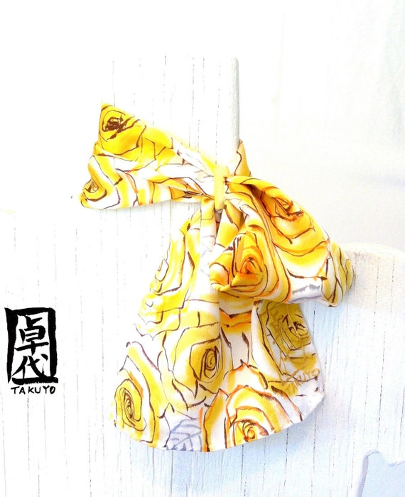 Silk Scarf. Scarf Ring. Hand Painted Silk Scarf Floral. MIYABI Scarflette Honey Gold Roses. Silk Scarves Takuyo. Made in USA. 6x24 in.