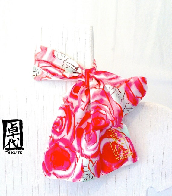 Silk Scarflette. Scarf Ring. MIYABI Scarlet Roses. Handmade Silk Scarf. Red Silk Scarf. Silk Scarves Takuyo. 6x24 in.