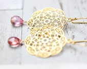 Shabby Chic Earrings - golden lace filigree and fuchsia pink quartz dangle, bridesmaid gift, bridal jewelry