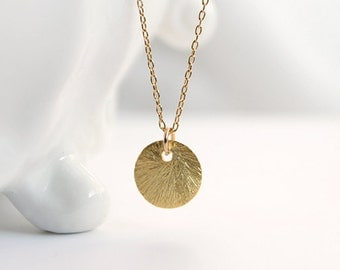 Gold Disc Necklace - simple everyday jewelry brushed vermeil pendant 14k gold filled chain by petito