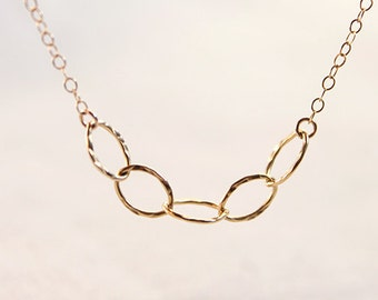 Hammered Gold Chain Necklace -simple everyday gold oval links jewelry by petitor