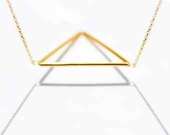 Geometric Triangle Necklace - geometrical isosceles 14 karat gold jewelry, minimalist futuristic triangle necklace