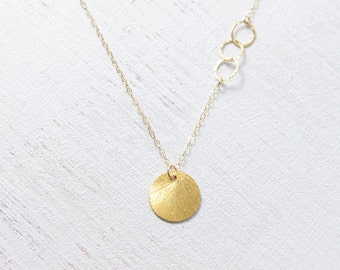 Sun Drop Necklace - gold circle asymmetrical 14k gold filled simple jewelry