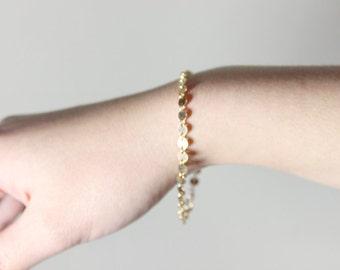 Tiny Gold Disc Bracelet - 14k gold fill tiny disc dots jewelry by petitor