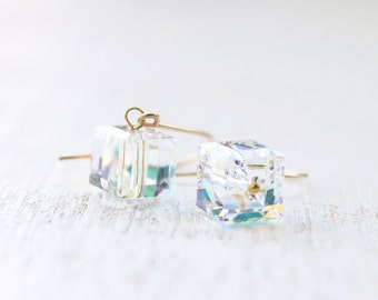 Cube Crystal Earrings - ab color crystal square on 14k gold fill or sterling silver, dainty and lovely jewelry