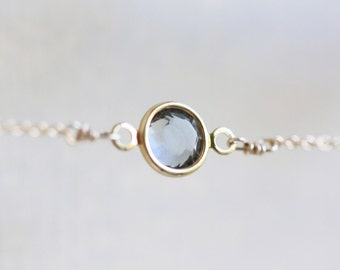 Petite Gray Crystal Necklace - tiny gray crystal 14k gold fill chain
