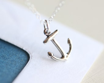 Anchor Necklace - nautical sterling silver vintage inspired silver anchor charm jewelry by petitor etsy