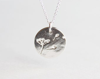 Dandelion Wish Necklace - solid sterling silver dandelion disc circle charm