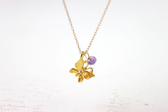 Butterfly Gold Necklace - dainty papillon pendant charm and amethyst 14 karat gold filled everyday jewelry by petitor