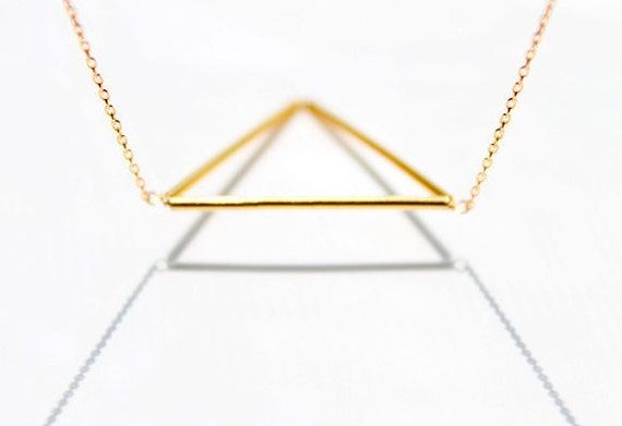 Geometric Triangle Necklace - geometrical isosceles 14 karat gold jewelry, minimalist futuristic triangle necklace