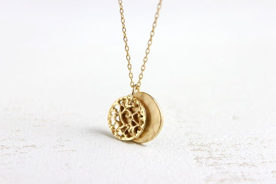 Gold Disc Necklace - simple everyday 14k gold filled simple statement jewelry by petitor