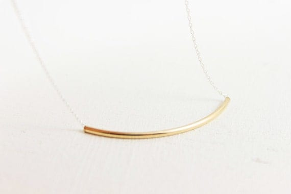 Gold Bar Curvature Necklace - 14k gold bar on sterling silver chain, simple everyday jewelry